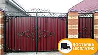 Ворота с ковкой и профнастилом, код: Р-0142, фото 1