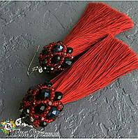 Серьги сережки кисть цвет красные марсал кисточки длинные висячие вечернее красный цвет Кисти вишневые