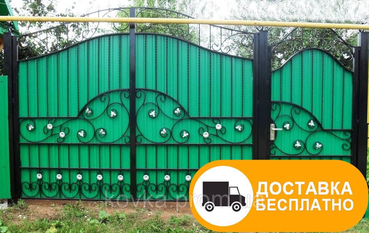 Ворота с калиткой с коваными элементами, код: Р-0143