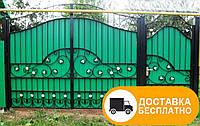 Ворота с калиткой с коваными элементами, код: Р-0143, фото 1