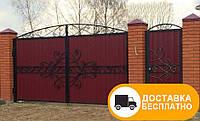 Ворота из профнастилом с элементами ковки, код: Р-0144