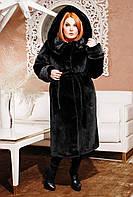 Зимняя шуба женская черная мутон М-30