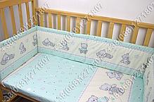 Детское постельное белье и защита (бортик) в детскую кроватку (мишка игрушки салатовый), фото 3