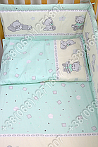 Детское постельное белье и защита (бортик) в детскую кроватку (мишка игрушки салатовый), фото 2
