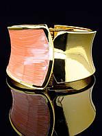 Широкий браслет из розовой эмали 18 см. бижутерия