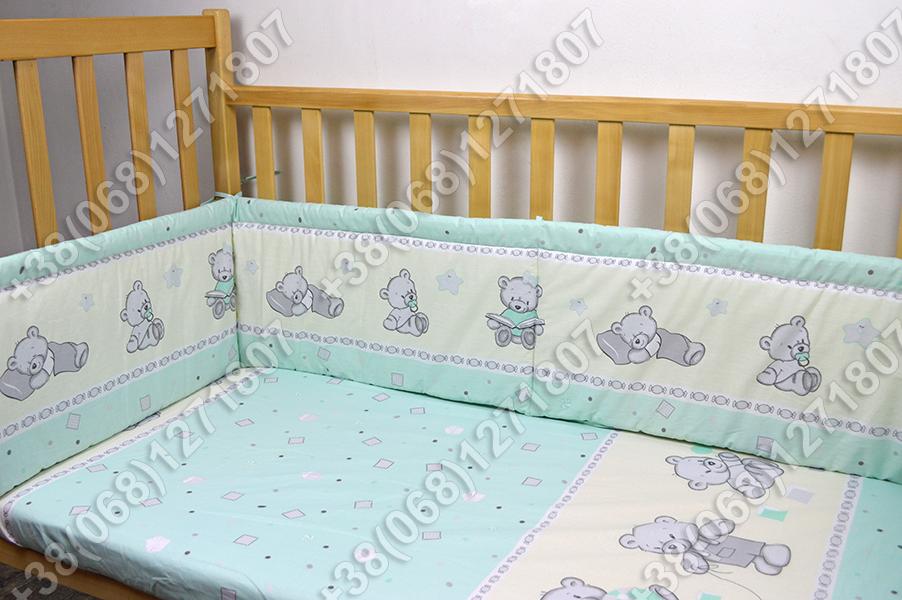 """Детское постельное белье в кроватку """"Карапуз"""" комплект 6 ед. (мишка игрушки салатовый)"""