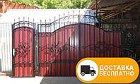 Ворота из профнастилом с элементами ковки, код: Р-0146, фото 1