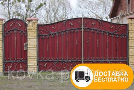 Ворота с калиткой из профнастилом, код: Р-0148