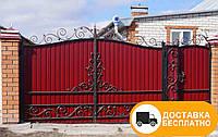 Ворота из профнастилом и коваными элементами, код: Р-0150