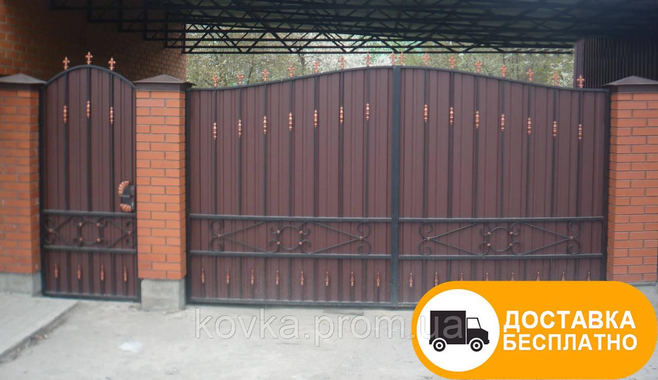 Ворота с калиткой из профнастилом, код: Р-0151