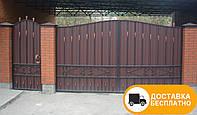 Ворота с калиткой из профнастилом, код: Р-0151, фото 1