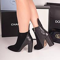 Ботинки лепесток на каблуке черные. Натуральная кожа и замш, фото 1
