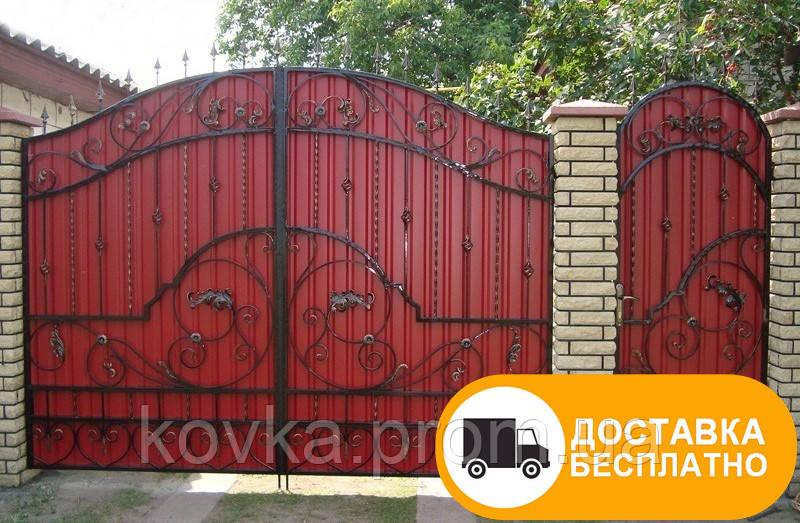 Ворота из профнастилом с коваными элементами, код: Р-0152