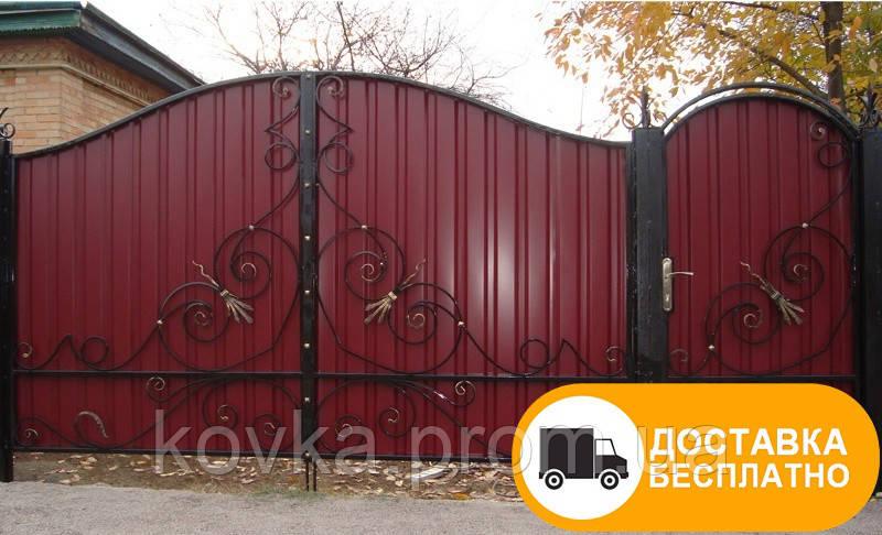 Ворота с ковкой из профнастилом, код: Р-0153