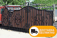 Ворота из профлистом с элементами ковки, код: Р-0156