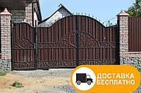 Кованые ворота с калиткой из профнастилом, код: Р-0157, фото 1