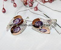 Серьги с фиолетовыми камнями Вернисаж, фото 1