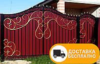 Распашные ворота с калиткой, код: Р-0158