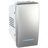 Выключатель кнопочный 1-мод. с подсветкой Алюминий Unica Schneider, MGU3.106.30N