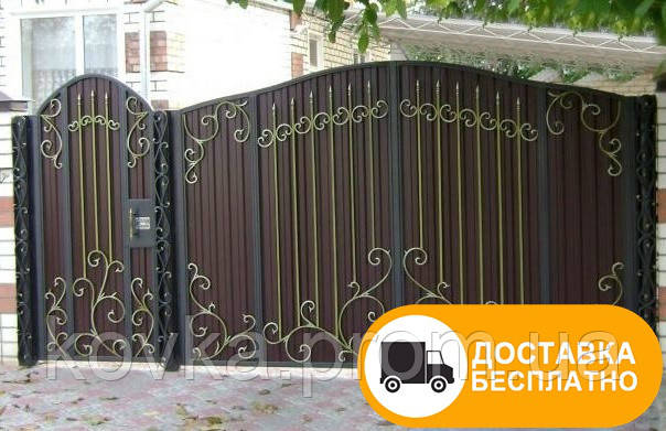 Кованые ворота с калиткой из профнастилом, код: Р-0160