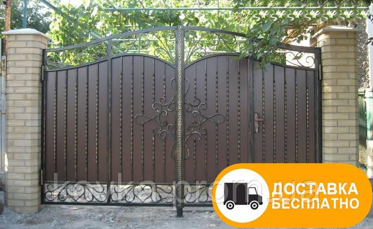 Распашные ворота с внутренней калиткой, код: Р-0162