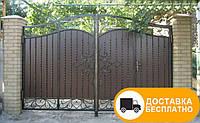 Распашные ворота с внутренней калиткой, код: Р-0162, фото 1