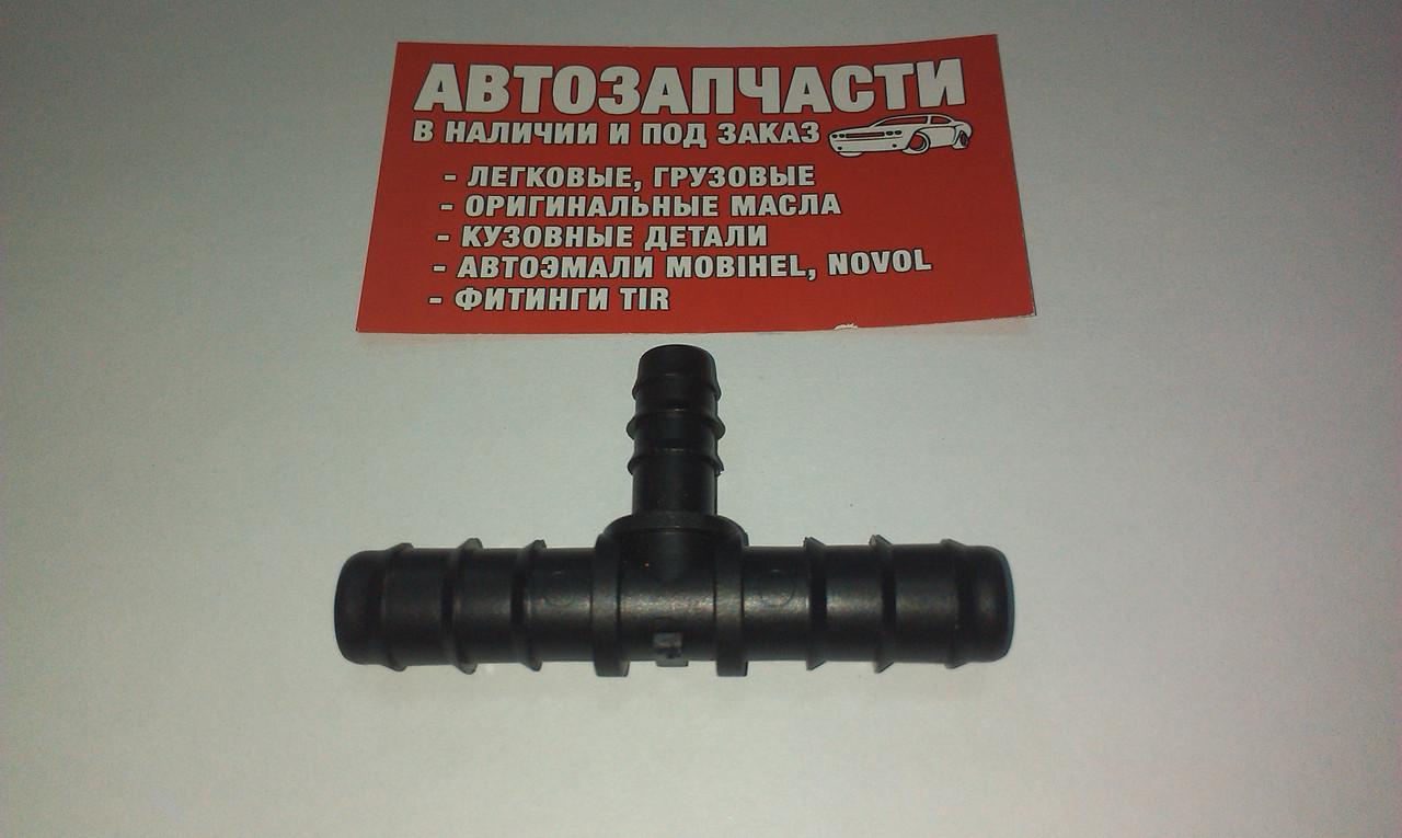 Соединитель шланга переходной тройник пластиковый Д14 - Д10 - Д14
