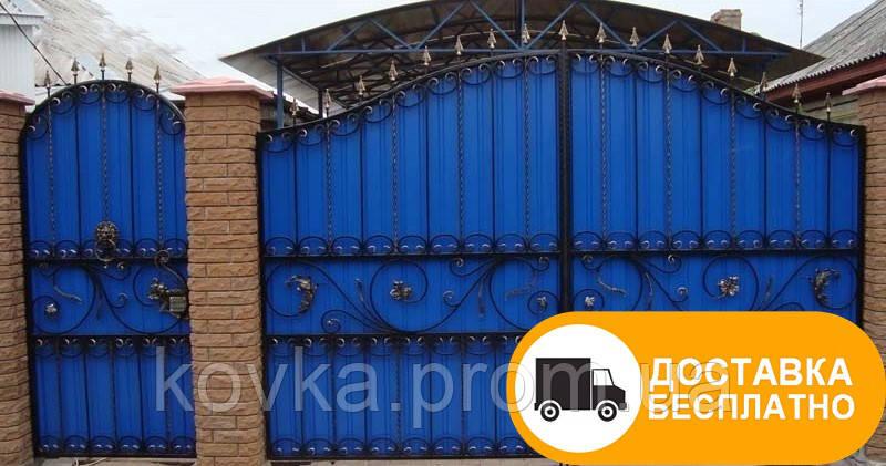 Распашные ворота с коваными элементами, код: Р-0159