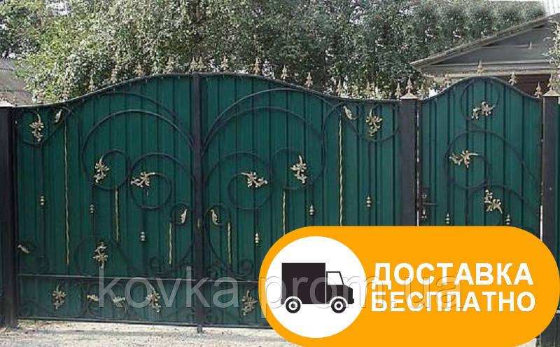 Распашные ворота с калиткой из профнастилом, код: Р-0163