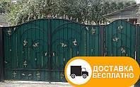 Распашные ворота с калиткой из профнастилом, код: Р-0163, фото 1