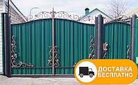 Распашные ворота с ковкой и профнастилом