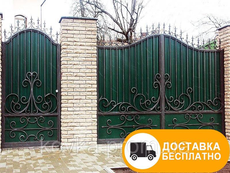 Кованые ворота из профнастилом, код: Р-0168