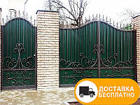 Кованые ворота из профнастилом