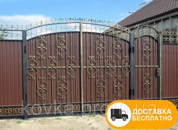 Распашные ворота с калиткой из профнастилом, код: Р-0170