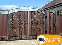 Распашные ворота с калиткой из профнастилом, код: Р-0170, фото 1