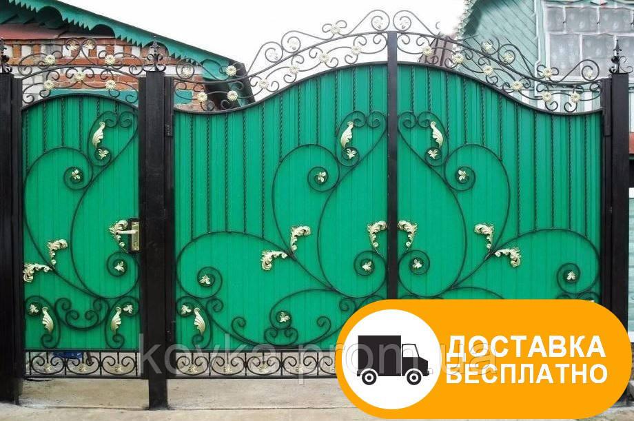 Кованые ворота зашиты профнастилом, код: Р-0169