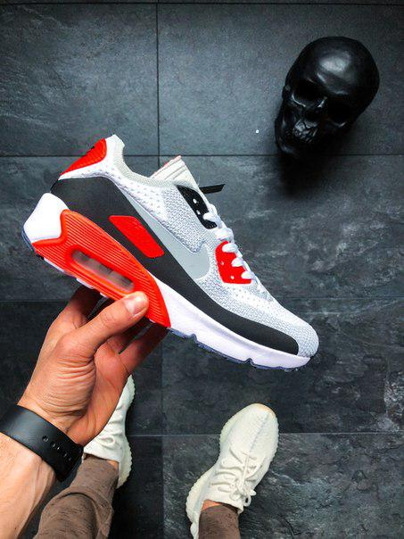 a0d9dc35 Мужские кроссовки Nike Air Max 90 Flyknit Infrared найк эир цветные, ...