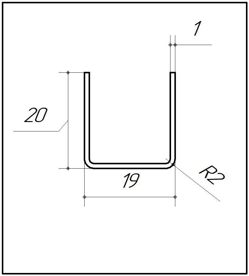 ODF-04-10-02-L2500 (полированный) Профиль из нержавейки 19*20 под стекло