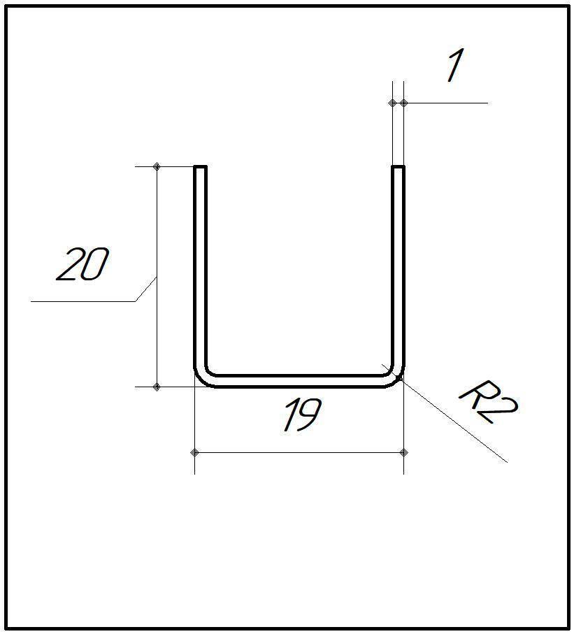 ODF-04-10-01-L2500 (сатинированный) Профиль из нержавейки 19*20 под стекло