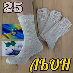 Мужские носки летние с сеткой сбоку Житомир 100% льон 25 размер НМЛ-06386