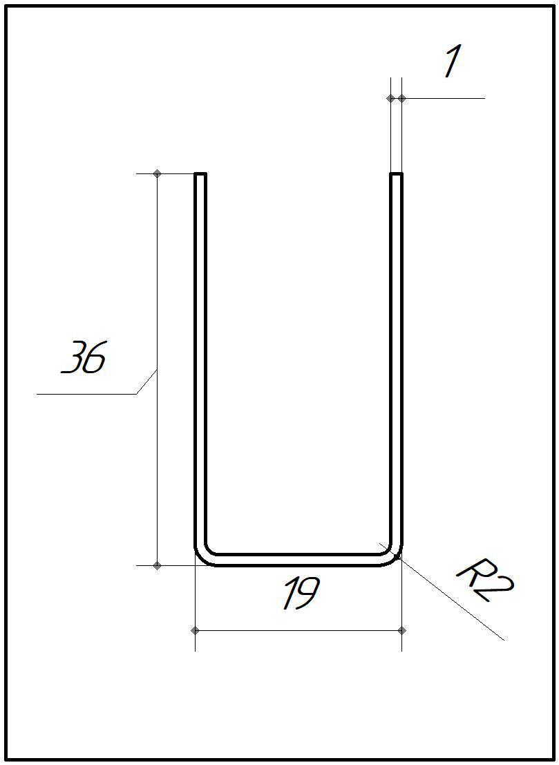 ODF-04-11-02-L2500 (полированный) Профиль из нержавейки 19*36 под стекло