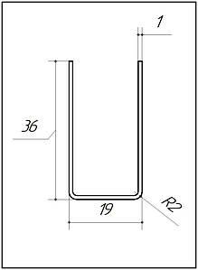 ODF-04-11-01-L2500 (сатинированный) Профиль из нержавейки 19*36 под стекло