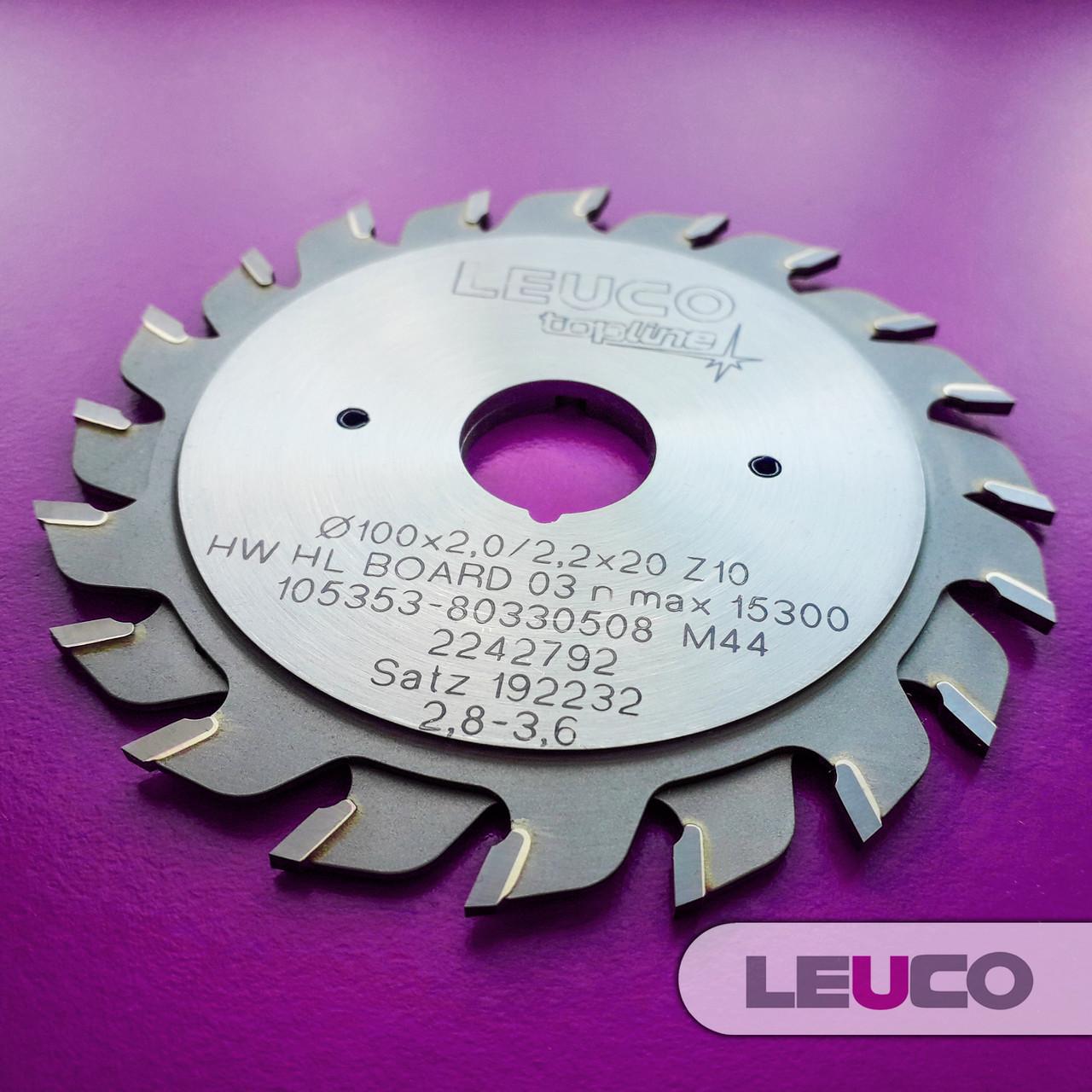 """100х2,8-3,6х2,2х20 z=10+10 Двухкорпусные подрезные дисковые пилы Leuco с регулировочными кольцами, """"ES"""" зуб"""