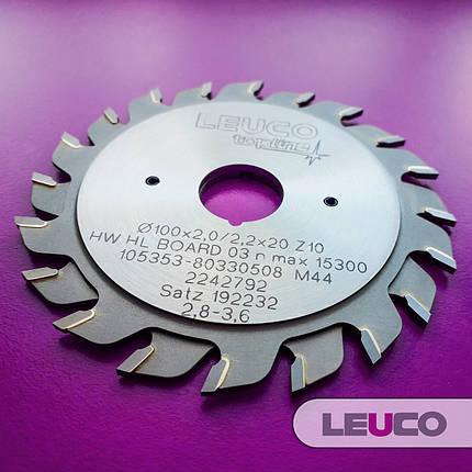 """100х2,8-3,6х2,2х20 z=10+10 Двухкорпусные подрезные дисковые пилы Leuco с регулировочными кольцами, """"ES"""" зуб, фото 2"""