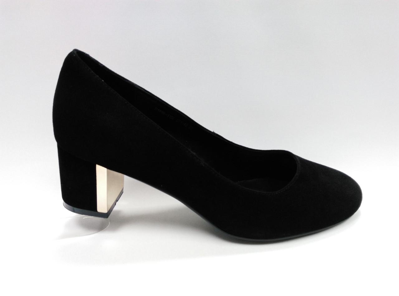 Туфли черные замшевые Erisses на  каблуке. Большие размеры ( 41 - 43 ).