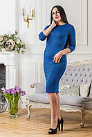 "Офисное платье-футляр ""Волна"" Zanna Brend синее, фото 1"