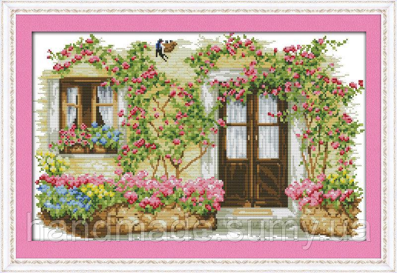 Дом в розах F440 Набор для вышивки крестом с печатью на ткани 14ст
