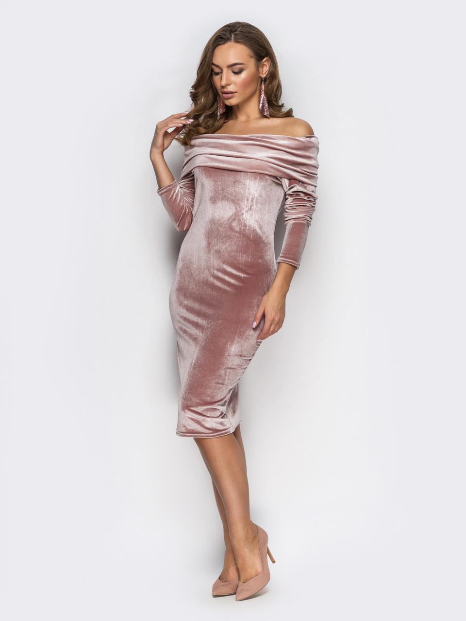 ae3e0528f245be3 Женское велюровое платье с открытими плечами и длинными рукавами 90249 48,  цена 599 грн., купить в Харькове — Prom.ua (ID#687177557)