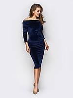 Жіноче велюрову сукню з открытими плечима й довгими рукавами 90249, фото 1