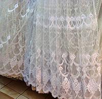 """Тюль в зал, спальню, гостиную """"Рона"""" фатин с вышивкой, белая, фото 1"""